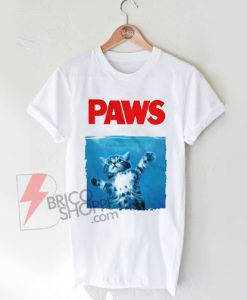 Paws T-Shirt. Jaws Movie T-Shirt. Kitten Shirt. Kitty T-Shirt. Cat T-Shirt On Sale