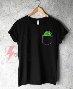 Pocket-Pepe,-Frog-in-Pocket-T-Shirt-On-Sale