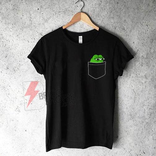 Pocket-Pepe,-Frog-in-Pocket-T-Shirt-On-Sale