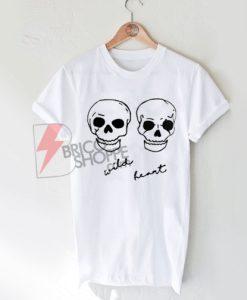 Wild Heart Skulls T-Shirt For Women's or Men's, cute and comfy Shirt
