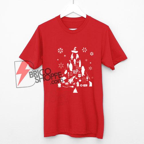Harry Potter Christmas Shirt.Harry Potter Christmas Tree Silhouette T Shirt On Sale