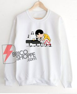 Freddie-Mercury-Playing-Piano-Queenuts-Queen's-in-style-of-Peanuts-Sweatshirt