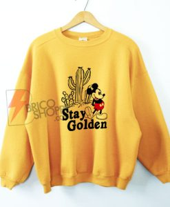 Stay Golden Sweatshirt - Vintage Stay Golden Mickey Mouse Cactus Sweatshirt
