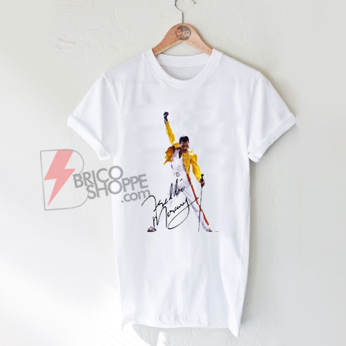 Freddie mercury with signature T-Shirt - Funny's Shirt On Sale