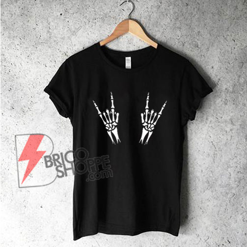 Skeleton hands metal Halloween T-Shirt - Funny's Halloween Shirt On Sale