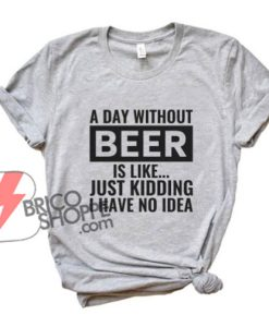 BEER T-Shirt - A Day Without Beer is Like Just Kidding, I Have No Idea Shirt - Funny Beer Lover Shirt