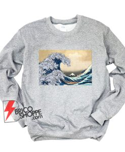 The great wave Kanagawa Cat Sweatshirt - Parody Sweatshirt - Funny Cat Lover Sweatshirt