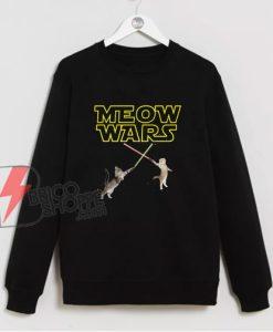 Meow Wars Funny Cat Lover Sweatshirt - Parody Star Wars Sweatshirt- Funny Sweatshirt