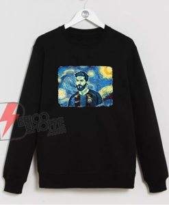 Messi Van Gogh Style Sweatshirt - Funny Sweatshirt On Sale