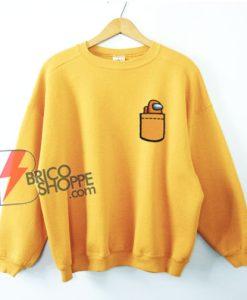 Among us Crewmate Orange in Pocket Sweatshirt - Funny Sweatshirt On Sale