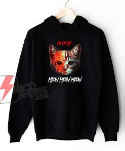Meow Meow Halloween Scary Cat Mask Hoodie - Funny Hoodie