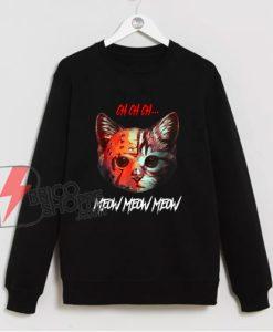 Meow Meow Halloween Scary Cat Mask Sweatshirt - Funny Sweatshirt