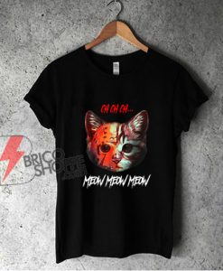 Meow Meow Halloween Scary Cat Mask T-Shirt - Funny Shirt