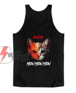 Meow Meow Halloween Scary Cat Mask Tank Top - Funny Tank Top