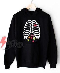 Skeleton Rib Cage Heart Candy Cute Hoodie - Funny Halloween Hoodie