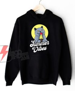 Summer Vibes Ice Cream Cone – Cat Lover Hoodie - Funny Hoodie