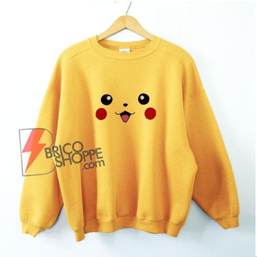 Pokémon Sweatshirt - Pokemon Pikachu Face Sweatshirt - Funny Sweatshirt