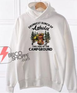 Drunkest Bunch Of Assholes This Side Of The Camp Ground Funny Bear Camping Hoodie - Funny Hoodie On Sale