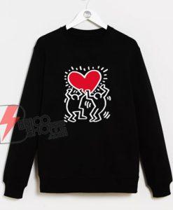 Keith Haring Big Love Sweatshirt - Funny Valentine Gift Sweatshirt - Funny Sweatshirt