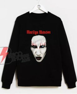Marilyn Manson face Sweatshirt - Funny Sweatshirt On Sale