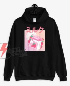 Japanese Kawaii Strawberry Milk Shake Hoodie - Funny Hoodie