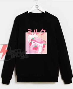 Japanese Kawaii Strawberry Milk Shake Sweatshirt - Funny Sweatshirt